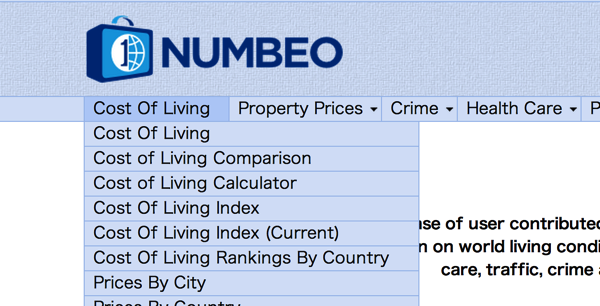 Select cost of living